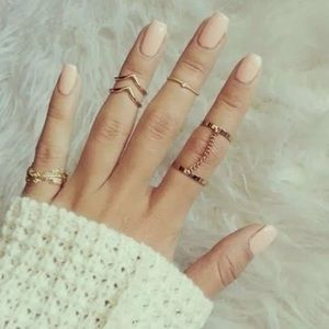 Knuckle Ring Gold 5 Piece Stackable